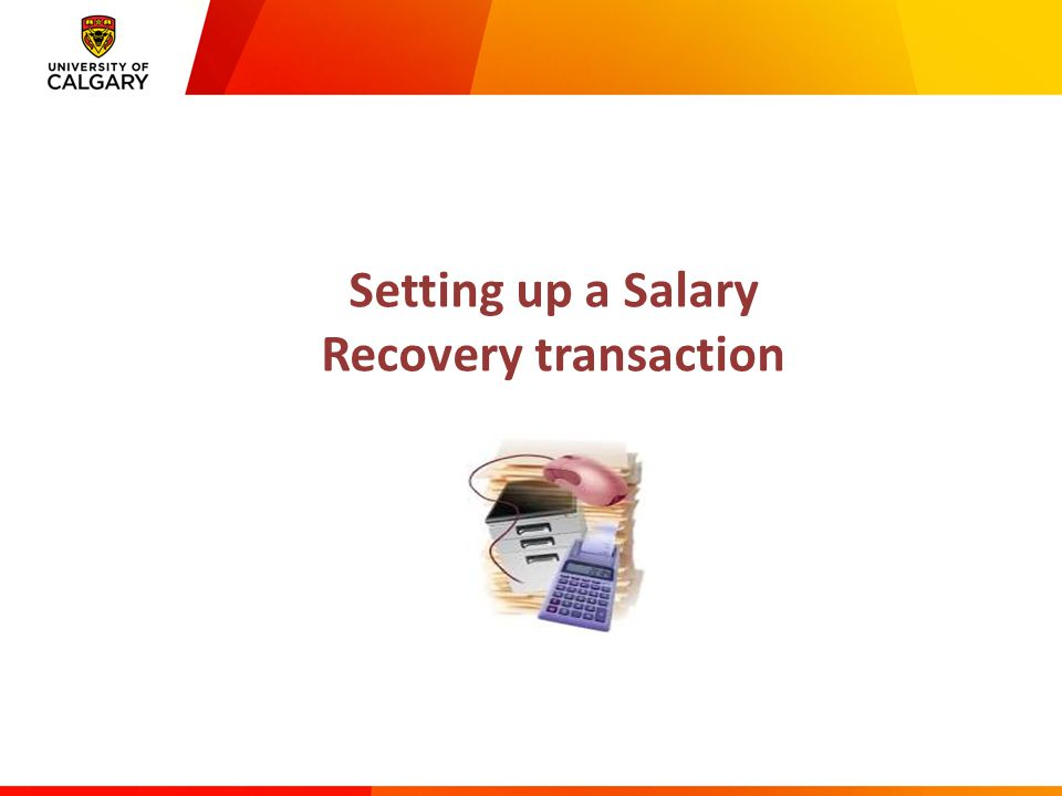 Setting up a Salary Recovery transaction