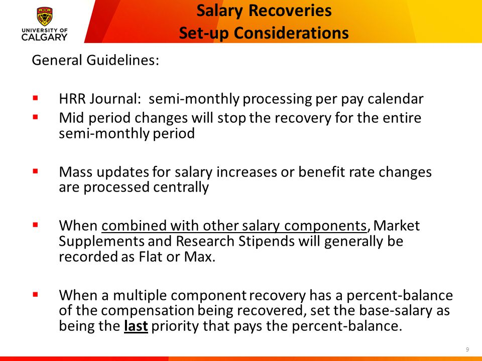 Salary Recoveries Set-up Considerations 20