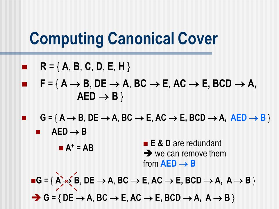Computing Canonical Cover G = { A  B, DE  A, BC  E, AC  E, BCD  A, AED  B } AED  B A + = AB E & D are redundant  we can remove them from AED 