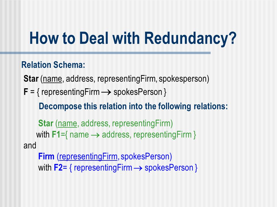 How to Deal with Redundancy? Relation Schema: Star (name, address, representingFirm, spokesperson) Decompose this relation into the following relation