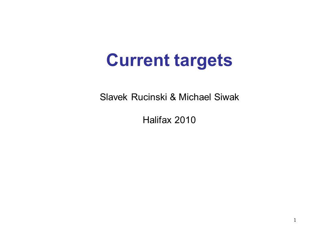 1 Current targets Slavek Rucinski & Michael Siwak Halifax 2010