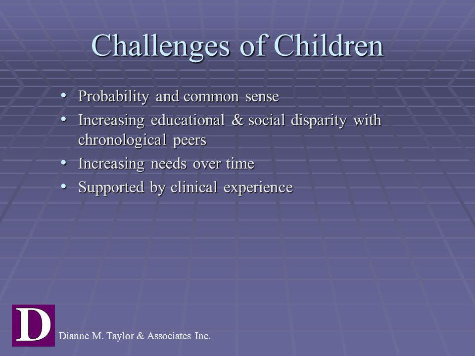 Challenges of Children Probability and common sense Probability and common sense Increasing educational & social disparity with chronological peers In