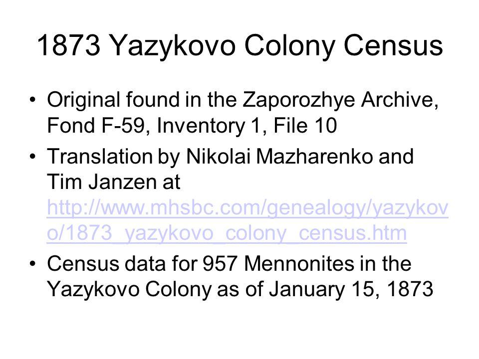 1873 Yazykovo Colony Census Original found in the Zaporozhye Archive, Fond F-59, Inventory 1, File 10 Translation by Nikolai Mazharenko and Tim Janzen at http://www.mhsbc.com/genealogy/yazykov o/1873_yazykovo_colony_census.htm http://www.mhsbc.com/genealogy/yazykov o/1873_yazykovo_colony_census.htm Census data for 957 Mennonites in the Yazykovo Colony as of January 15, 1873