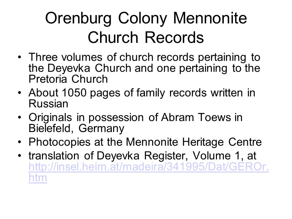 Orenburg Colony Mennonite Church Records Three volumes of church records pertaining to the Deyevka Church and one pertaining to the Pretoria Church Ab