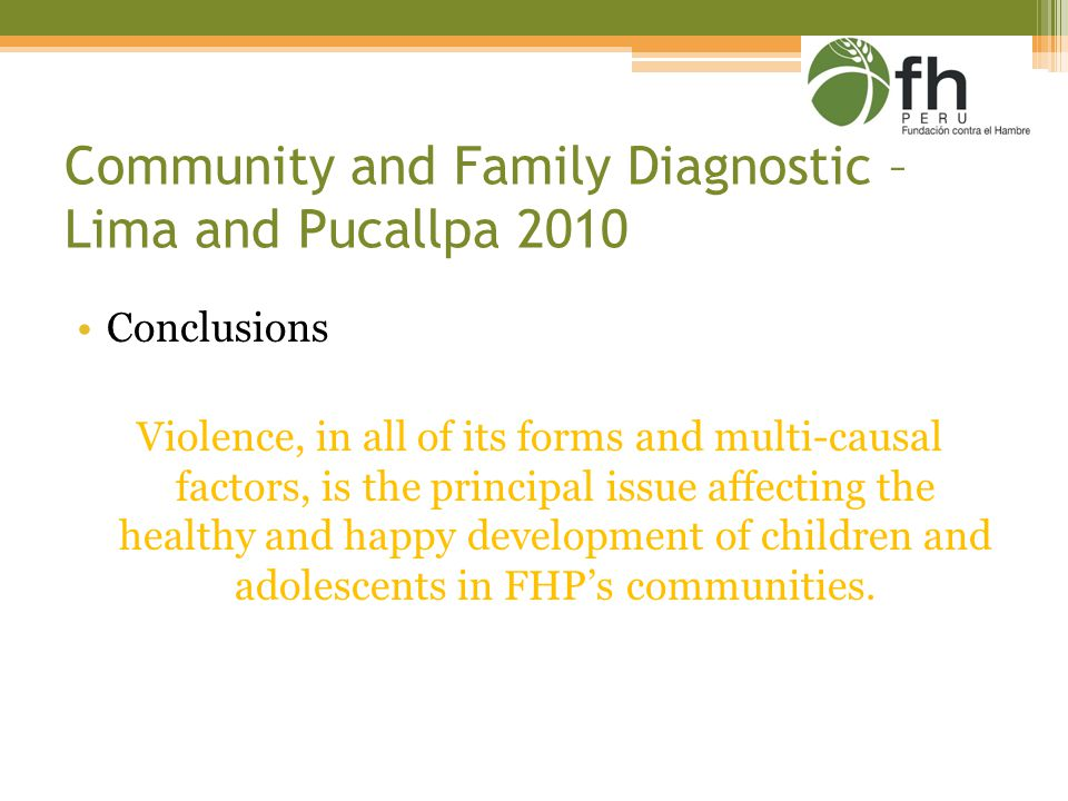 Community and Family Diagnostic – Lima and Pucallpa 2010 Conclusions Violence, in all of its forms and multi-causal factors, is the principal issue affecting the healthy and happy development of children and adolescents in FHP's communities.