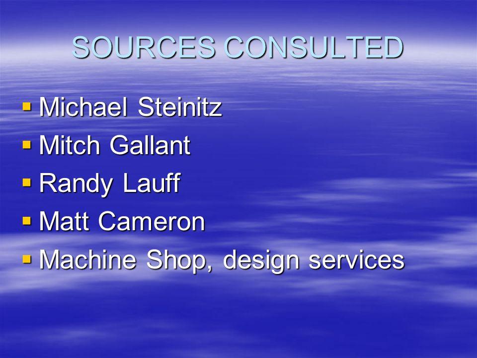 SOURCES CONSULTED  Michael Steinitz  Mitch Gallant  Randy Lauff  Matt Cameron  Machine Shop, design services