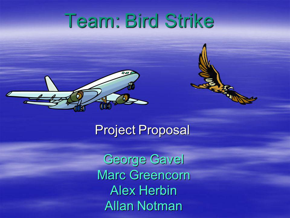 PROBLEM IDENTIFICATION  Wildlife at airports is a problem  Year 2007, 1324 reported bird strikes  50% occur on takeoff or landing  Birds too close to or on the runway