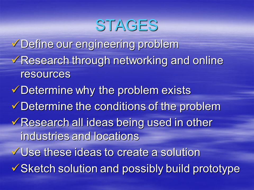 STAGES Define our engineering problem Define our engineering problem Research through networking and online resources Research through networking and