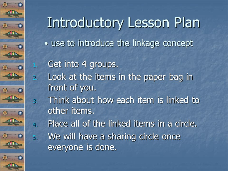 Introductory Lesson Plan 1. Get into 4 groups. 2.