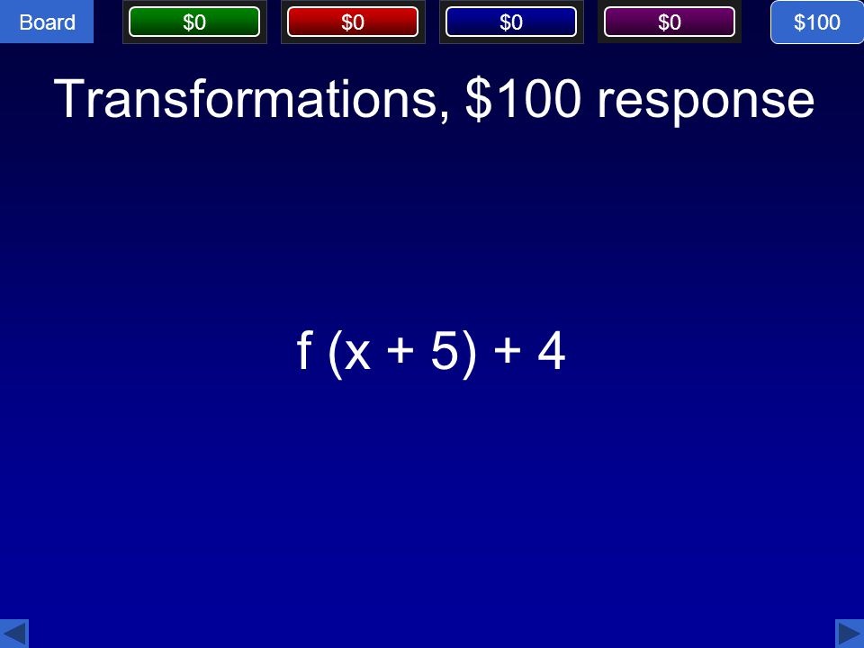 Board CorrectIncorrectCorrectIncorrectCorrectIncorrectCorrectIncorrect Board $0 This is the equation of the radical function with an endpoint of (4, -3) and an x-intercept of (-12,0).