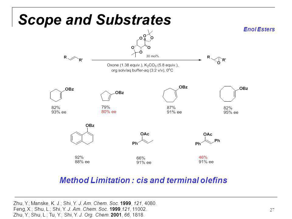27 Scope and Substrates Zhu, Y.; Manske, K. J.; Shi, Y. J. Am. Chem. Soc. 1999, 121, 4080. Feng, X.; Shu, L.; Shi, Y. J. Am. Chem. Soc. 1999,121, 1100