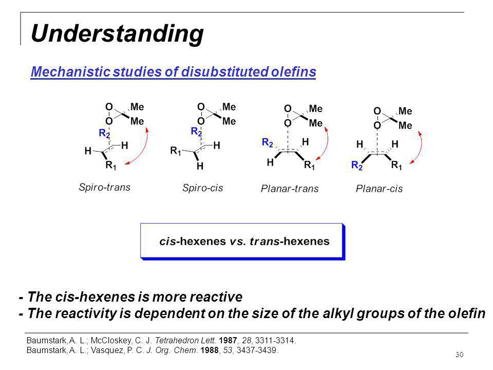 30 Understanding Mechanistic studies of disubstituted olefins Baumstark, A. L.; McCloskey, C. J. Tetrahedron Lett. 1987, 28, 3311-3314. Baumstark, A.