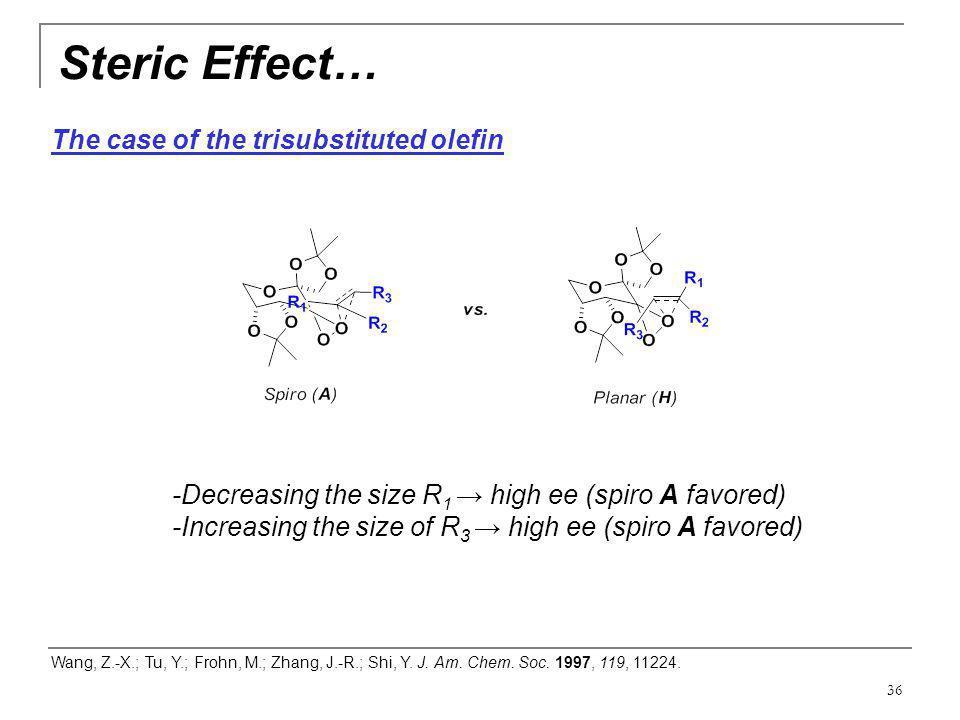 36 Steric Effect… Wang, Z.-X.; Tu, Y.; Frohn, M.; Zhang, J.-R.; Shi, Y. J. Am. Chem. Soc. 1997, 119, 11224. -Decreasing the size R 1 → high ee (spiro