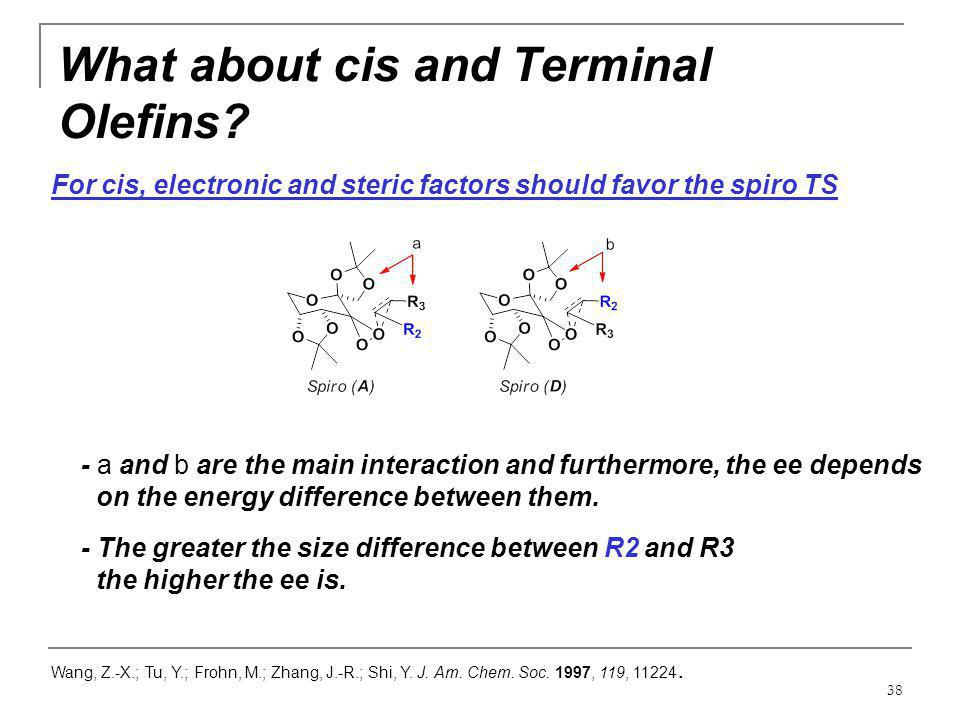 38 What about cis and Terminal Olefins? Wang, Z.-X.; Tu, Y.; Frohn, M.; Zhang, J.-R.; Shi, Y. J. Am. Chem. Soc. 1997, 119, 11224. For cis, electronic