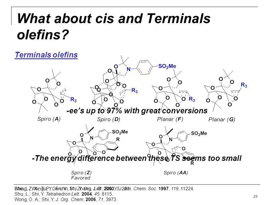 39 What about cis and Terminals olefins? Wang, Z.-X.; Tu, Y.; Frohn, M.; Zhang, J.-R.; Shi, Y. J. Am. Chem. Soc. 1997, 119, 11224. Terminals olefins -
