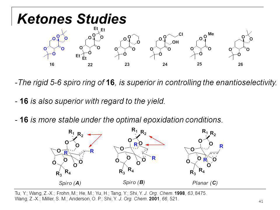 41 Ketones Studies Tu, Y.; Wang, Z.-X.; Frohn, M.; He, M.; Yu, H.; Tang, Y.; Shi, Y. J. Org. Chem. 1998, 63, 8475. Wang, Z.-X.; Miller, S. M.; Anderso