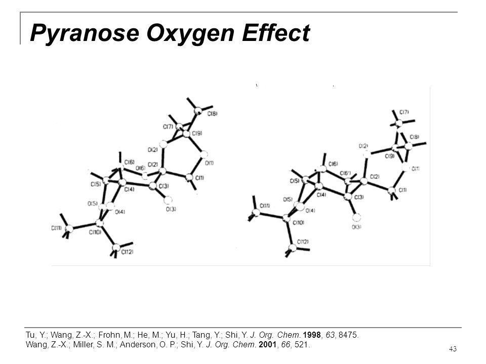 43 Pyranose Oxygen Effect Tu, Y.; Wang, Z.-X.; Frohn, M.; He, M.; Yu, H.; Tang, Y.; Shi, Y. J. Org. Chem. 1998, 63, 8475. Wang, Z.-X.; Miller, S. M.;