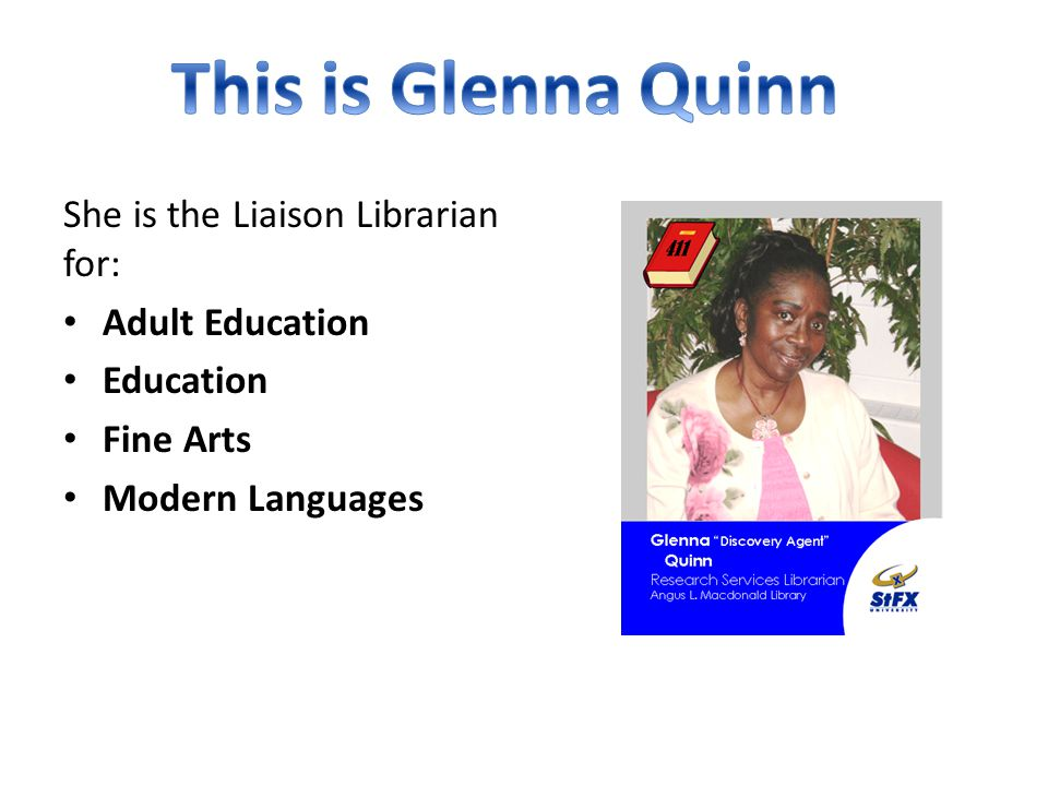 She is the Liaison Librarian for: Anthropology Development Studies Political Science Sociology Women's Studies