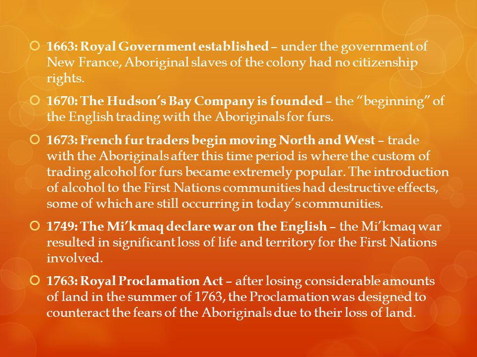  1663: Royal Government established – under the government of New France, Aboriginal slaves of the colony had no citizenship rights.