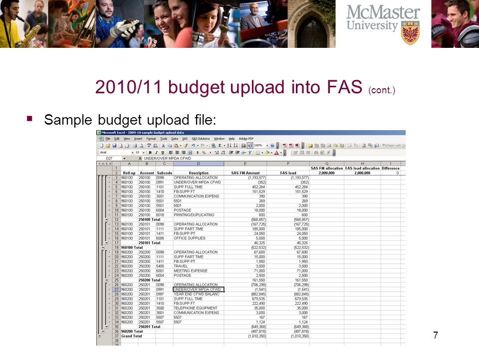 7 2010/11 budget upload into FAS (cont.) The Campaign for McMaster University  Sample budget upload file: