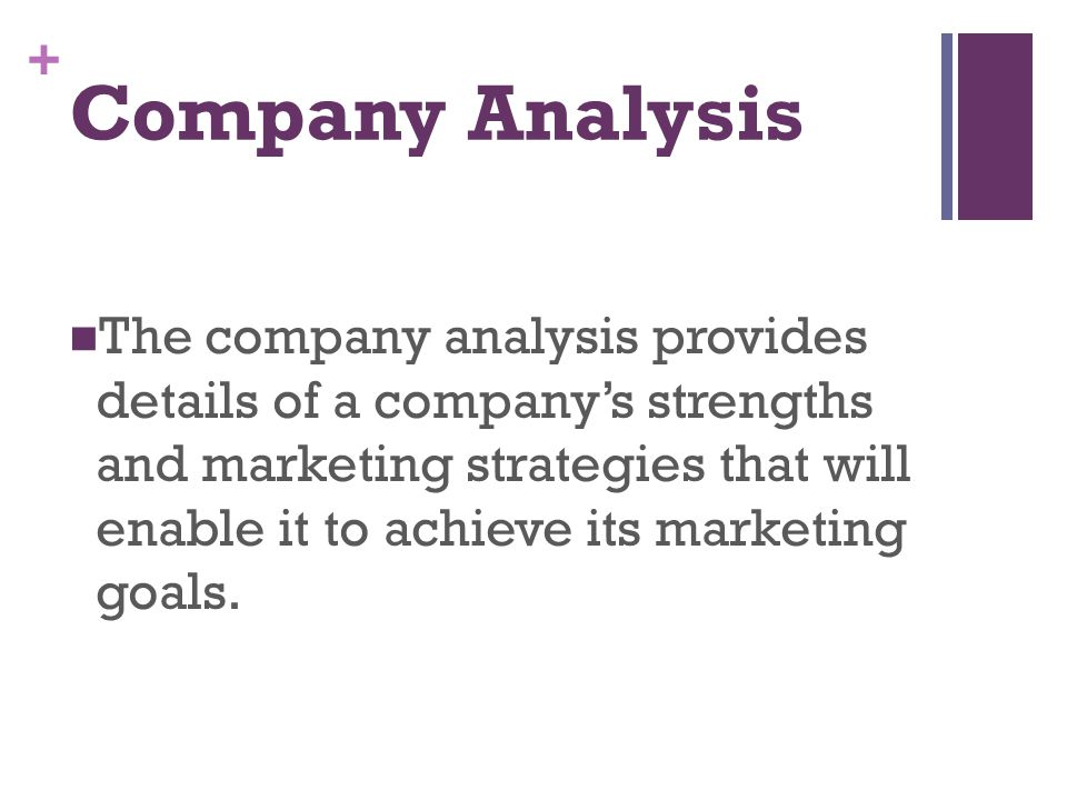 + Company Analysis The company analysis provides details of a company's strengths and marketing strategies that will enable it to achieve its marketin