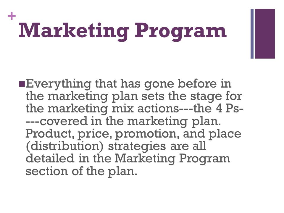 + Marketing Program Everything that has gone before in the marketing plan sets the stage for the marketing mix actions---the 4 Ps- ---covered in the m