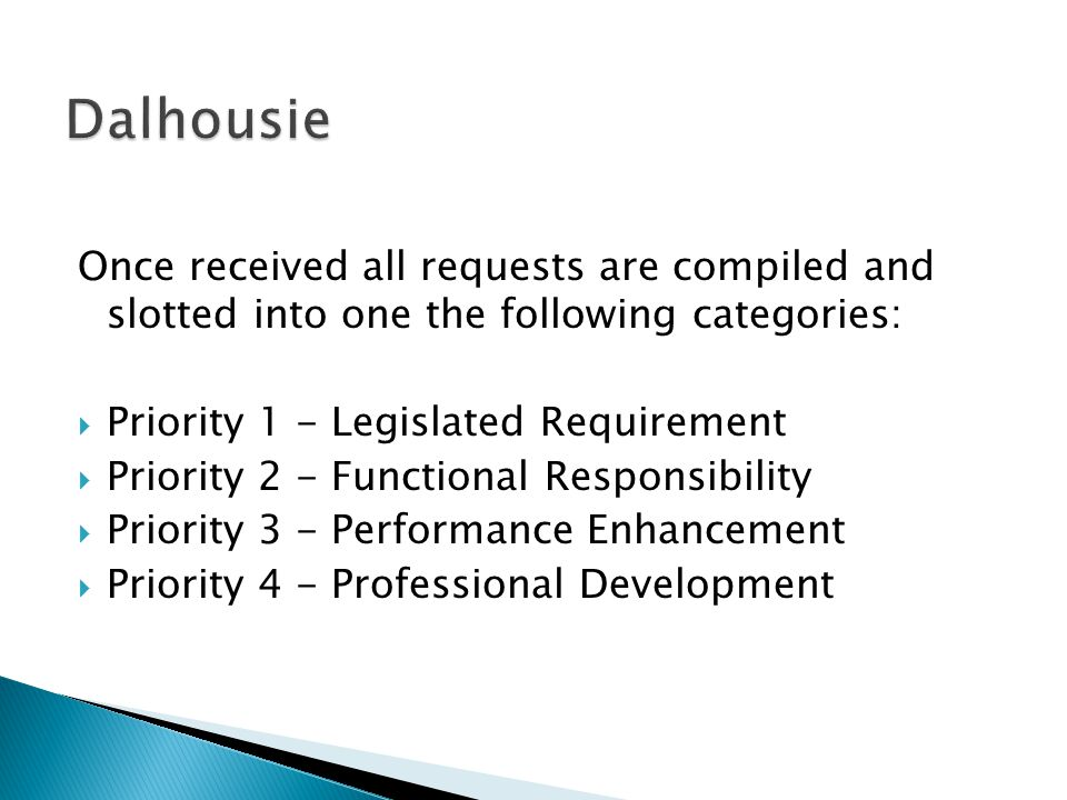 Once received all requests are compiled and slotted into one the following categories:  Priority 1 - Legislated Requirement  Priority 2 - Functional