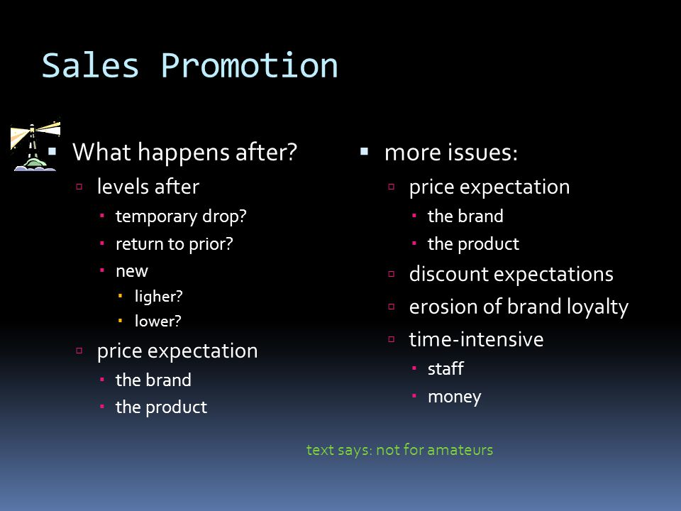 Sales Promotion  What happens after.  levels after  temporary drop.
