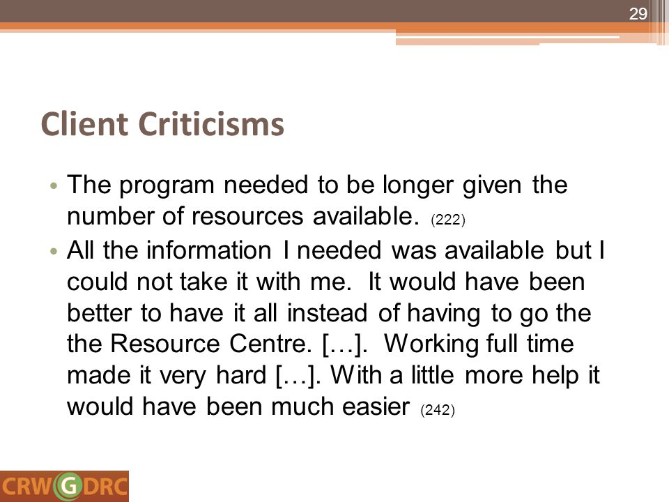 Client Criticisms The program needed to be longer given the number of resources available.