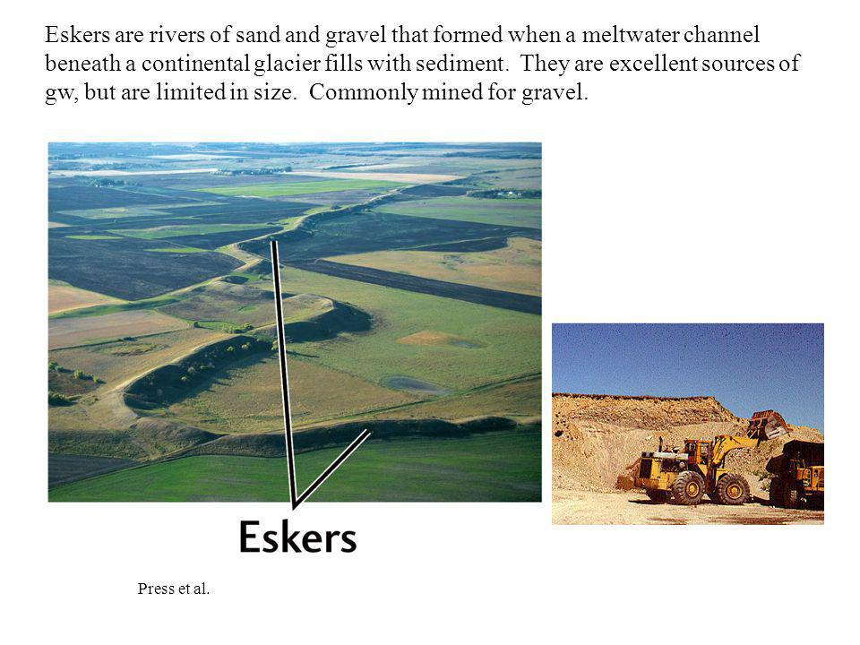 Press et al. Eskers are rivers of sand and gravel that formed when a meltwater channel beneath a continental glacier fills with sediment. They are exc