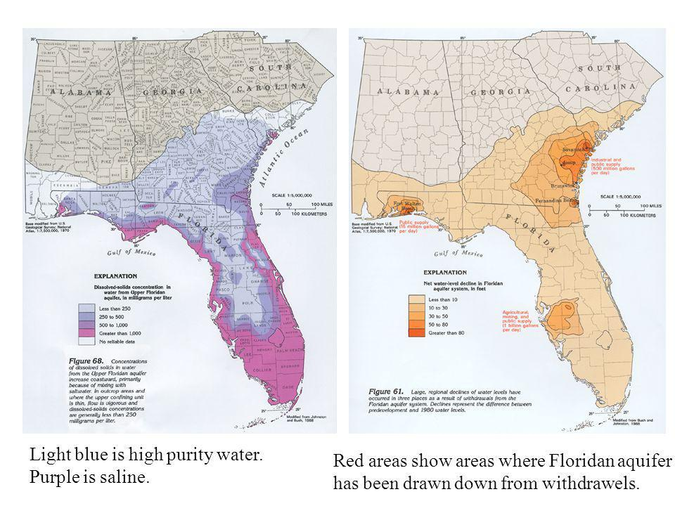Light blue is high purity water. Purple is saline. Red areas show areas where Floridan aquifer has been drawn down from withdrawels.