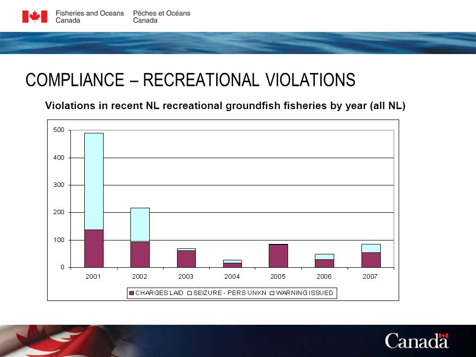 COMPLIANCE – RECREATIONAL VIOLATIONS Violations in recent NL recreational groundfish fisheries by year (all NL)