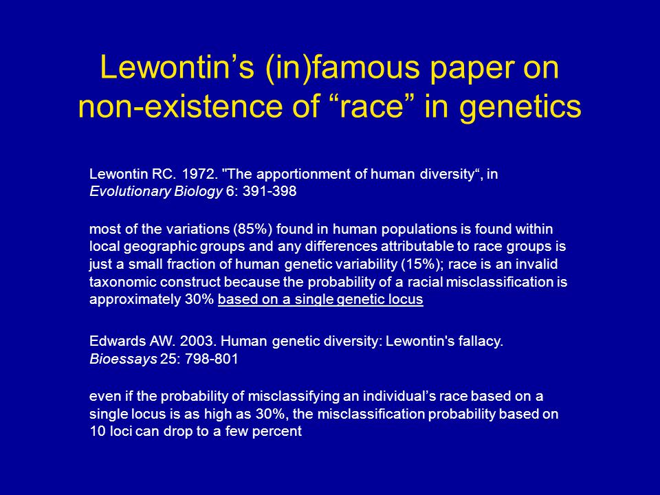 Lewontin's (in)famous paper on non-existence of race in genetics Lewontin RC.