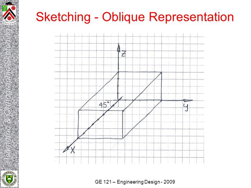 GE 121 – Engineering Design - 2009 Sketching - Oblique Representation