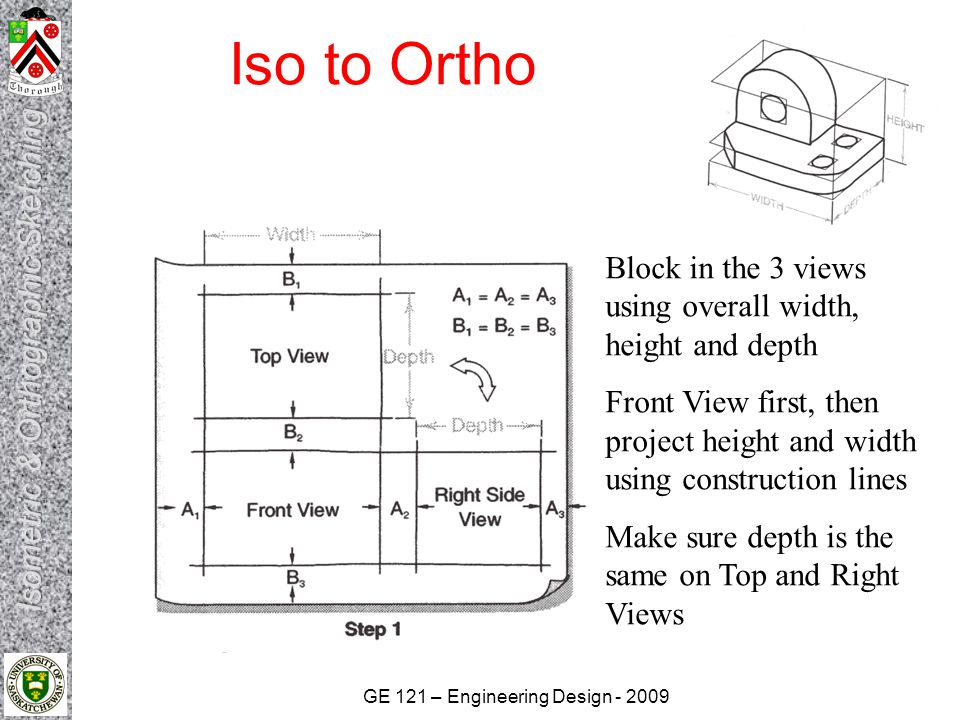 GE 121 – Engineering Design - 2009 Iso to Ortho Block in the 3 views using overall width, height and depth Front View first, then project height and w