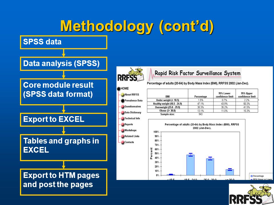 Methodology (cont'd) Data analysis (SPSS) Core module result (SPSS data format) Export to EXCEL Export to HTM pages and post the pages Tables and graphs in EXCEL SPSS data