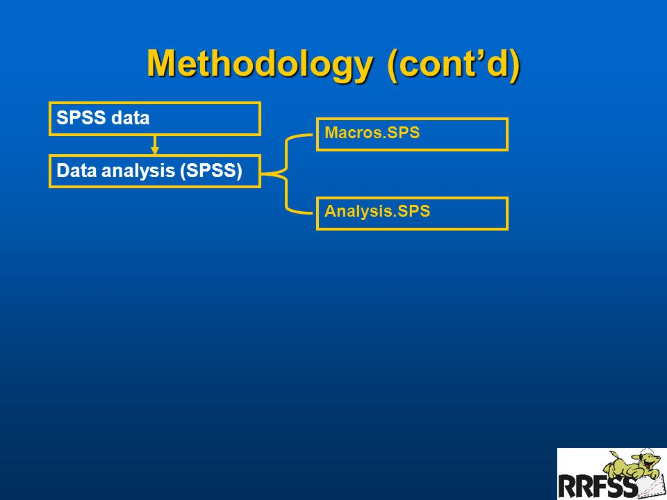 Methodology (cont'd) Data analysis (SPSS) SPSS data Macros.SPS Analysis.SPS