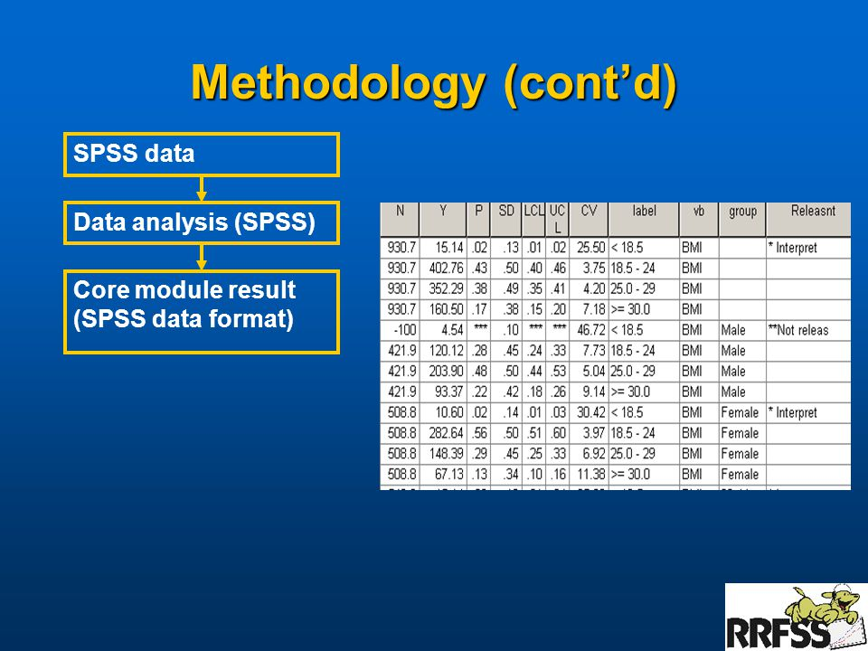 Methodology (cont'd) Data analysis (SPSS) Core module result (SPSS data format) SPSS data