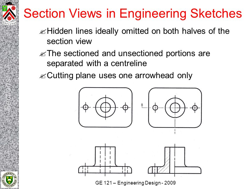 GE 121 – Engineering Design - 2009 Section Views in Engineering Sketches  Hidden lines ideally omitted on both halves of the section view  The secti