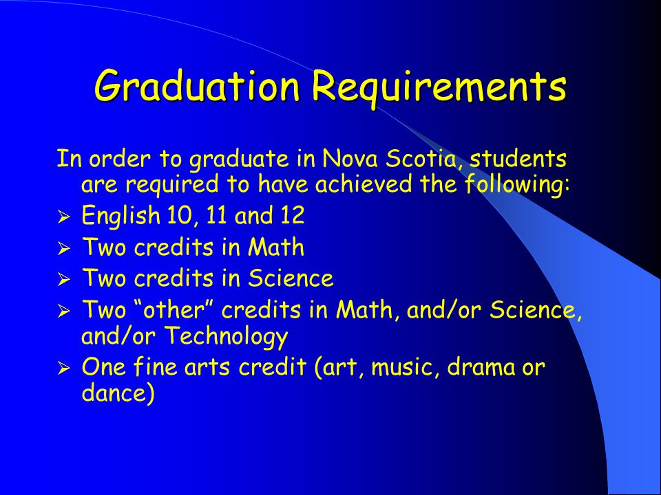 Graduation Requirements In order to graduate in Nova Scotia, students are required to have achieved the following:  English 10, 11 and 12  Two credits in Math  Two credits in Science  Two other credits in Math, and/or Science, and/or Technology  One fine arts credit (art, music, drama or dance)