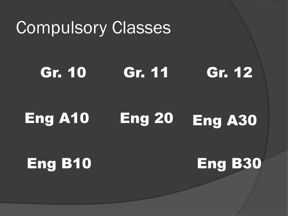 Compulsory Classes Gr. 10Gr. 11Gr. 12 Eng B10 Eng 20 Eng A30 Eng B30 Eng A10
