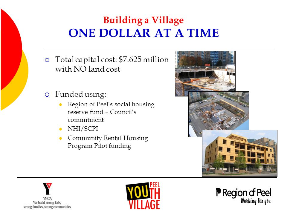 Building a Village ONE DOLLAR AT A TIME  Total capital cost: $7.625 million with NO land cost  Funded using: Region of Peel's social housing reserve fund – Council's commitment NHI/SCPI Community Rental Housing Program Pilot funding