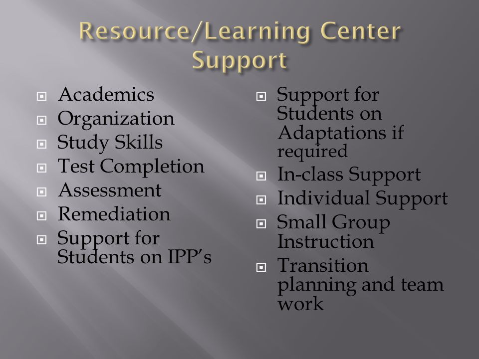  Academics  Organization  Study Skills  Test Completion  Assessment  Remediation  Support for Students on IPP's  Support for Students on Adaptations if required  In-class Support  Individual Support  Small Group Instruction  Transition planning and team work