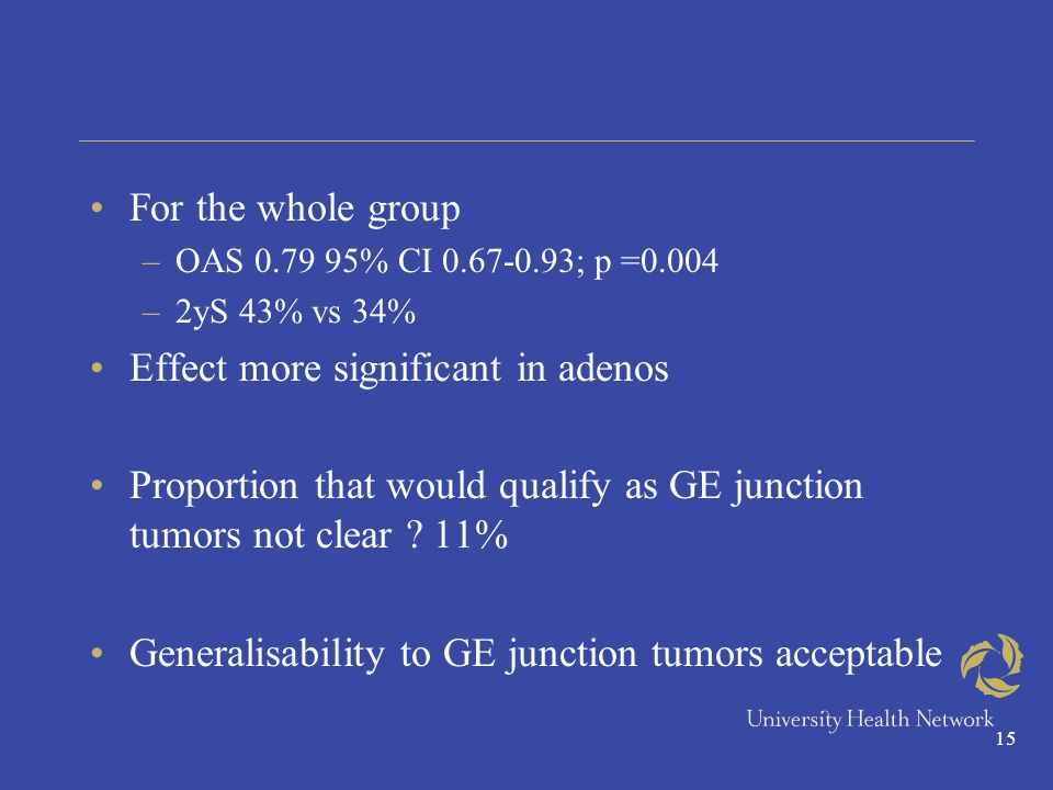15 For the whole group –OAS 0.79 95% CI 0.67-0.93; p =0.004 –2yS 43% vs 34% Effect more significant in adenos Proportion that would qualify as GE junction tumors not clear .