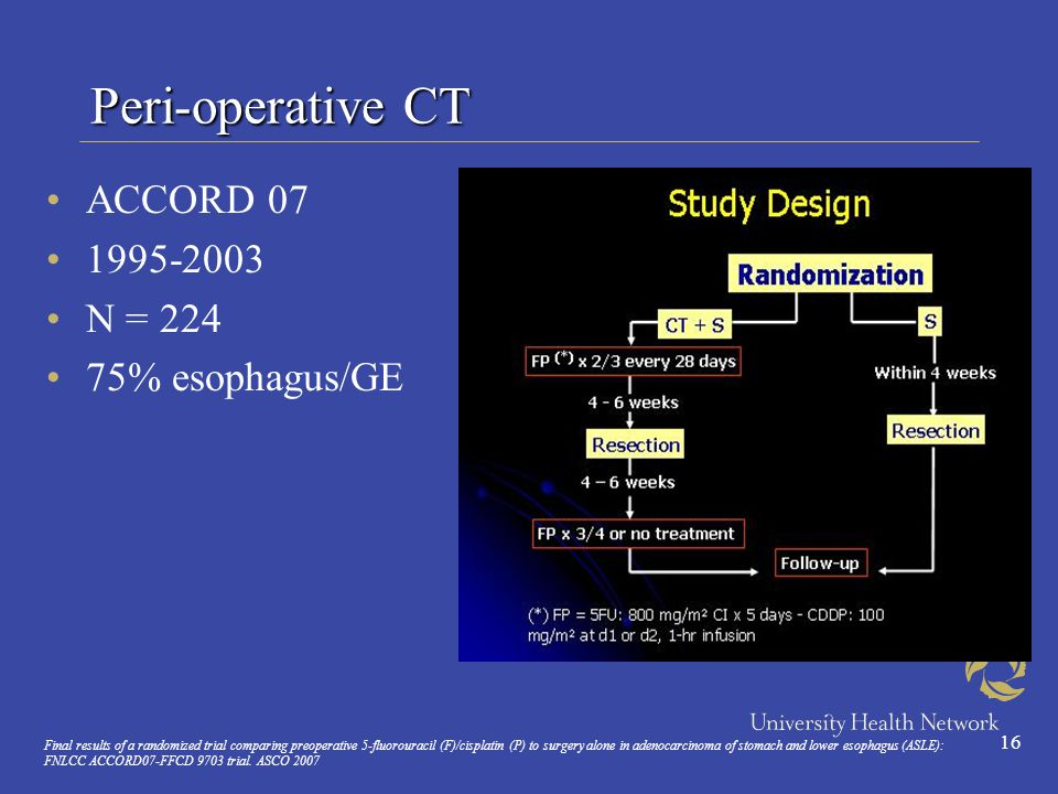 16 Peri-operative CT ACCORD 07 1995-2003 N = 224 75% esophagus/GE Final results of a randomized trial comparing preoperative 5-fluorouracil (F)/cisplatin (P) to surgery alone in adenocarcinoma of stomach and lower esophagus (ASLE): FNLCC ACCORD07-FFCD 9703 trial.