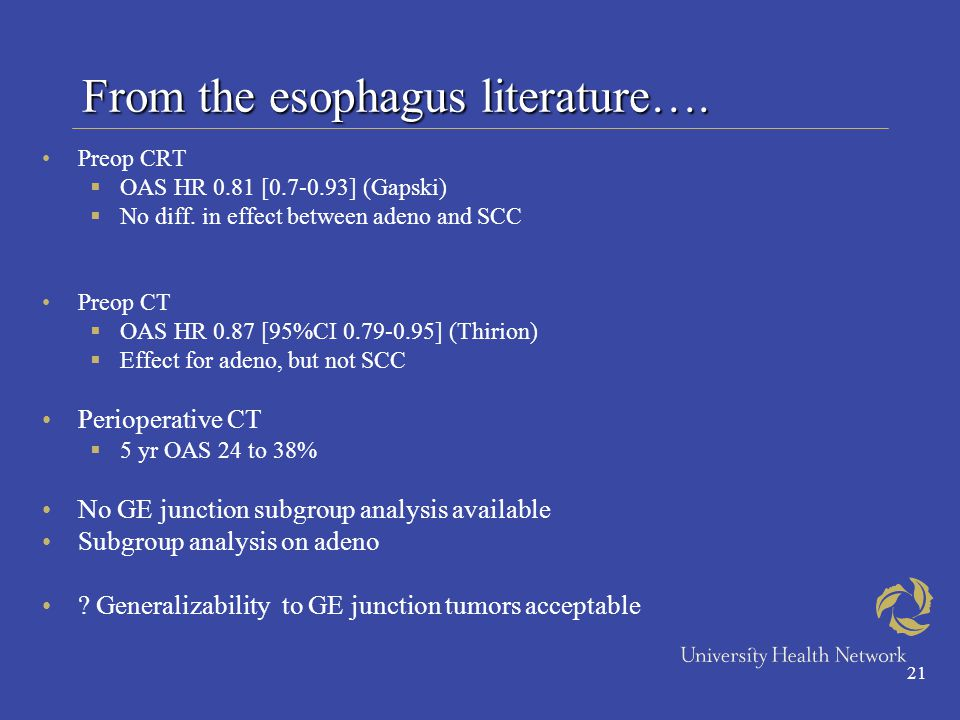21 From the esophagus literature…. Preop CRT  OAS HR 0.81 [0.7-0.93] (Gapski)  No diff.
