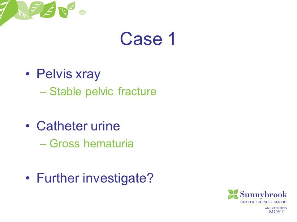 Case 2 Management Surgical repair –Intraperitoneal bladder rupture –Some Urethral repairs