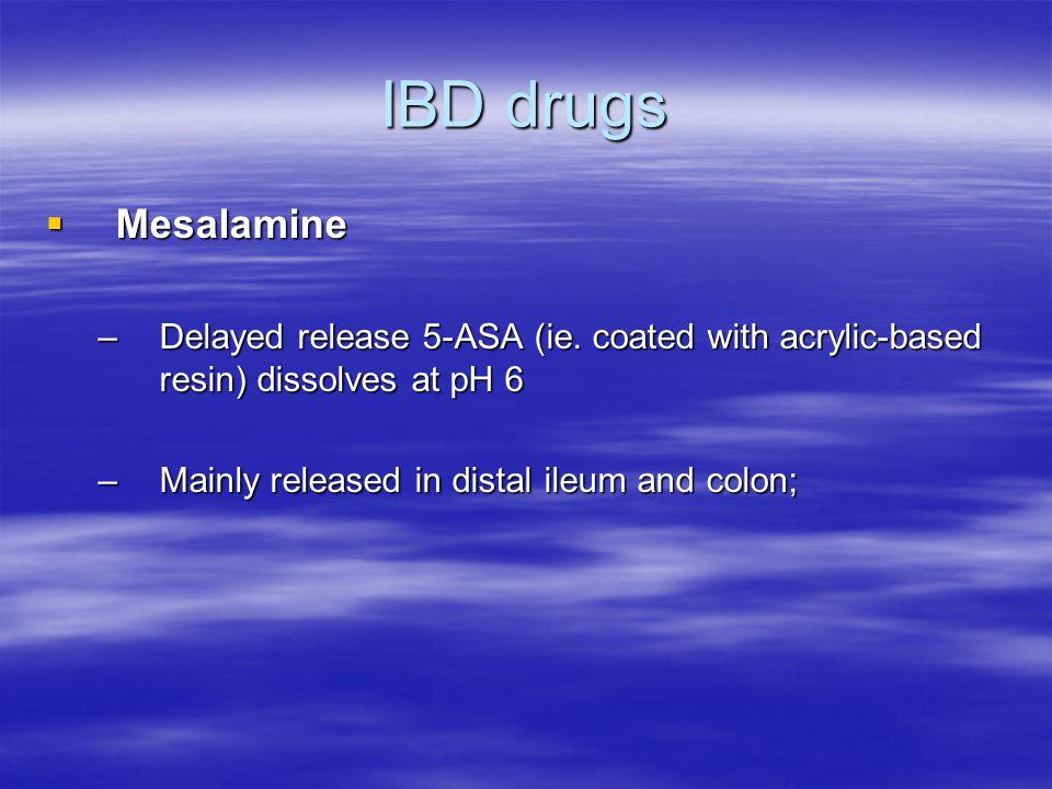 IBD drugs  Mesalamine –Delayed release 5-ASA (ie.