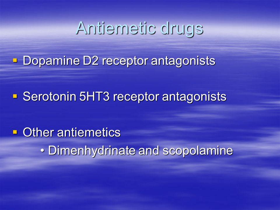 Antiemetic drugs  Dopamine D2 receptor antagonists  Serotonin 5HT3 receptor antagonists  Other antiemetics Dimenhydrinate and scopolamine Dimenhydrinate and scopolamine