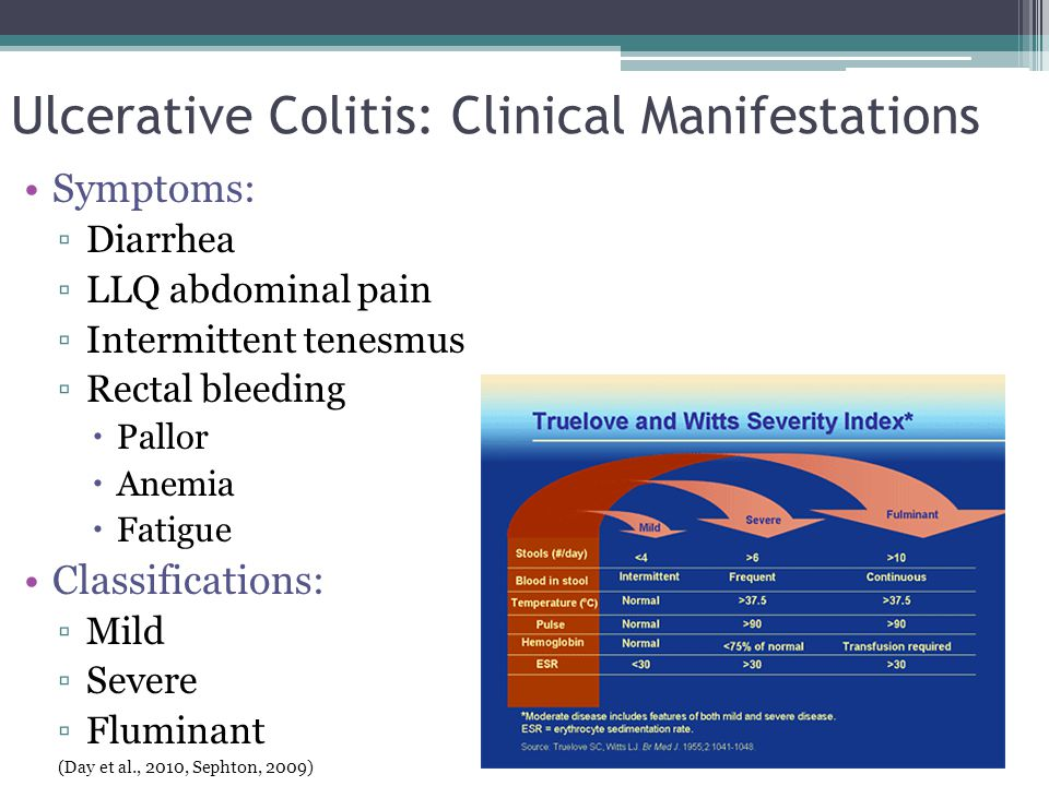 Ulcerative Colitis: Clinical Manifestations Symptoms: ▫Diarrhea ▫LLQ abdominal pain ▫Intermittent tenesmus ▫Rectal bleeding  Pallor  Anemia  Fatigu